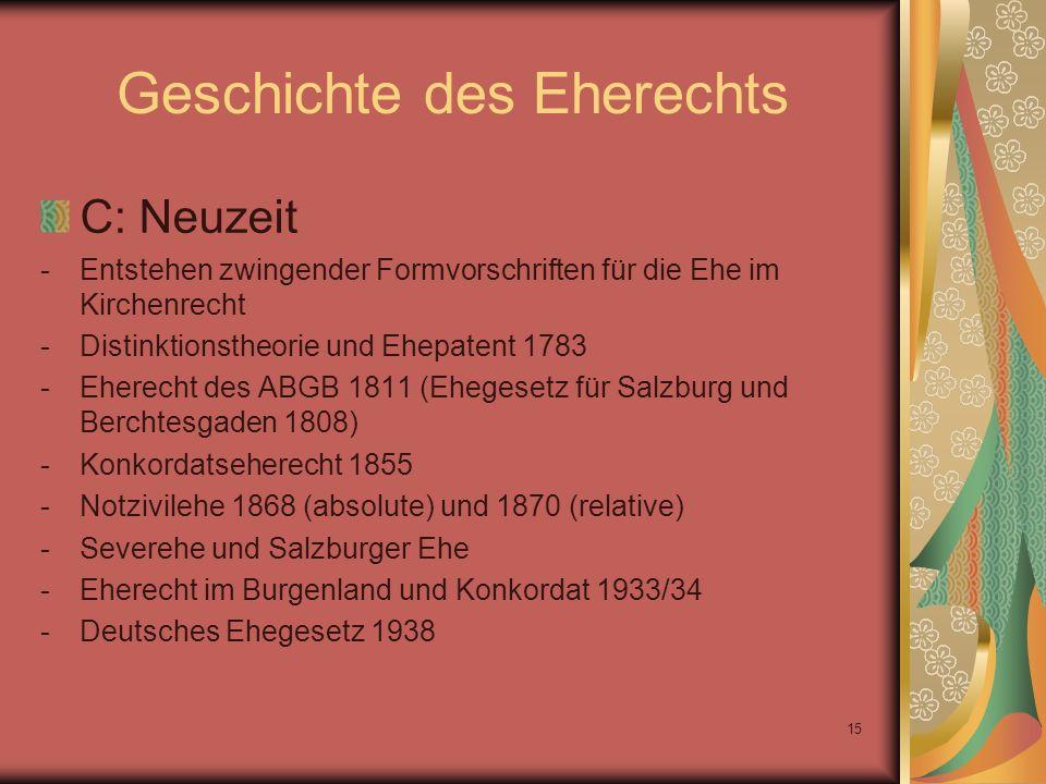 15 Geschichte des Eherechts C: Neuzeit -Entstehen zwingender Formvorschriften für die Ehe im Kirchenrecht -Distinktionstheorie und Ehepatent 1783 -Ehe