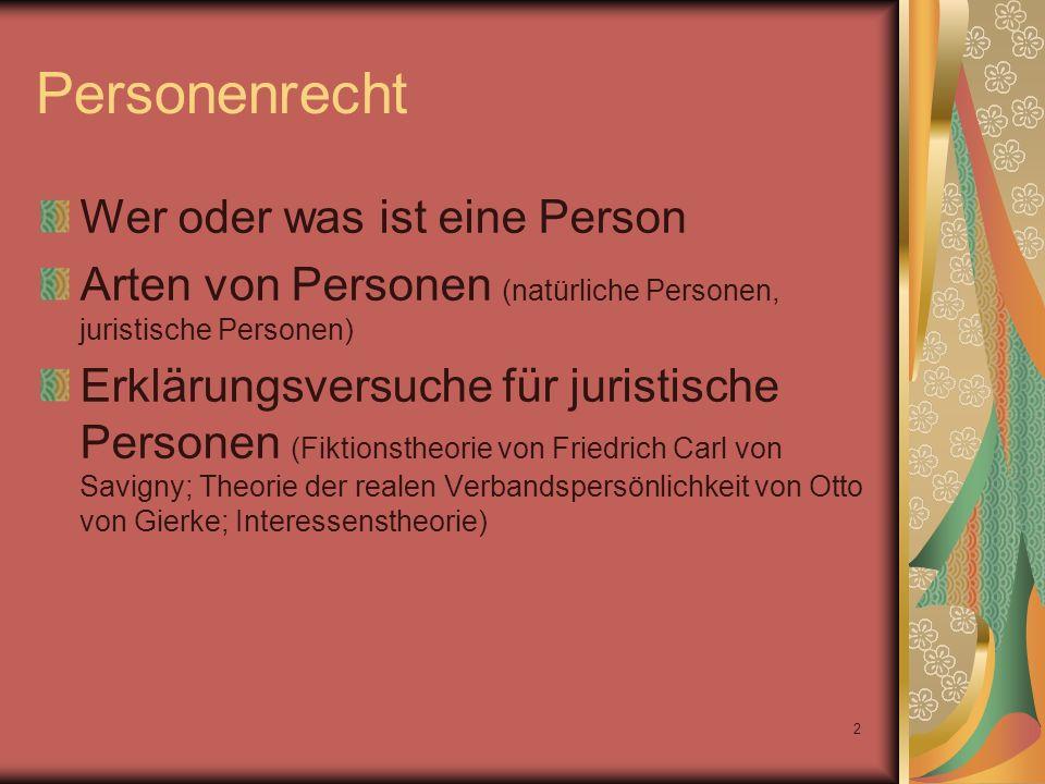 2 Wer oder was ist eine Person Arten von Personen (natürliche Personen, juristische Personen) Erklärungsversuche für juristische Personen (Fiktionsthe