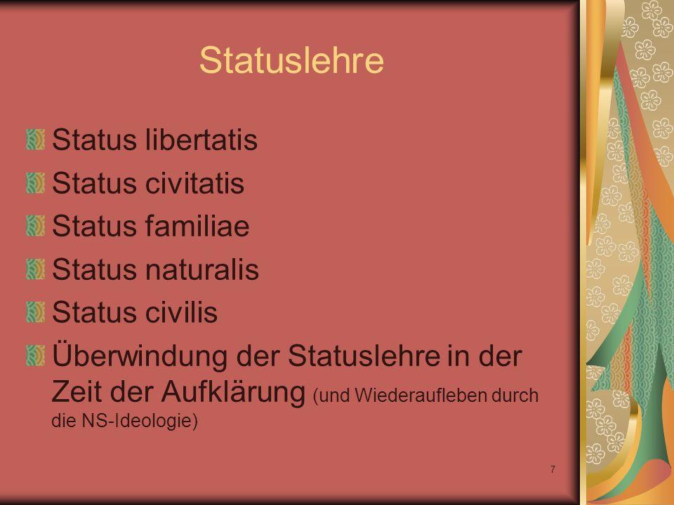7 Statuslehre Status libertatis Status civitatis Status familiae Status naturalis Status civilis Überwindung der Statuslehre in der Zeit der Aufklärun
