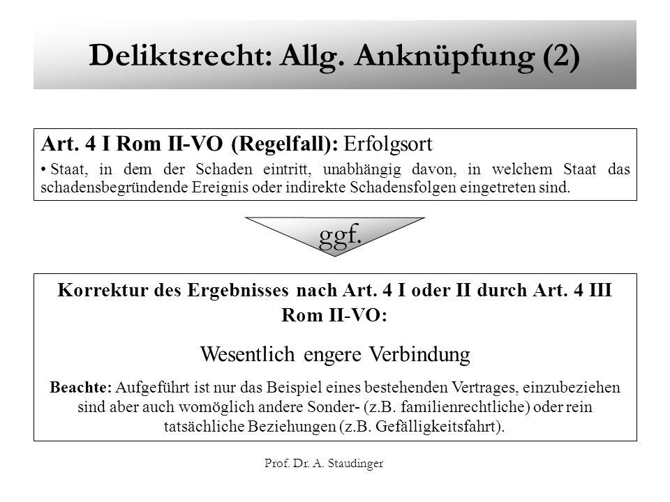 Prof. Dr. A. Staudinger Deliktsrecht: Allg. Anknüpfung (2) Art. 4 I Rom II-VO (Regelfall): Erfolgsort Staat, in dem der Schaden eintritt, unabhängig d