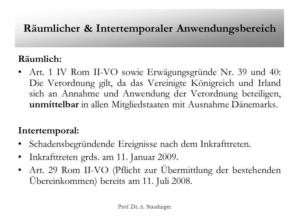 Prof. Dr. A. Staudinger Räumlicher & Intertemporaler Anwendungsbereich Räumlich: Art. 1 IV Rom II-VO sowie Erwägungsgründe Nr. 39 und 40: Die Verordnu
