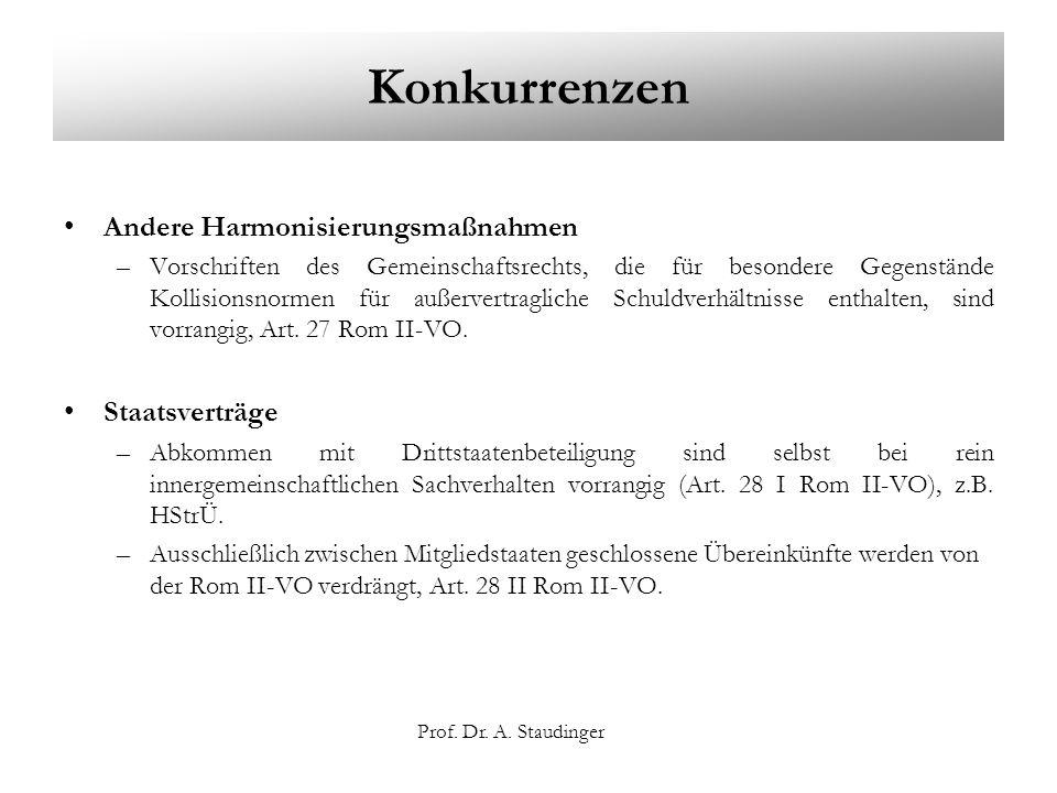 Prof. Dr. A. Staudinger Konkurrenzen Andere Harmonisierungsmaßnahmen –Vorschriften des Gemeinschaftsrechts, die für besondere Gegenstände Kollisionsno