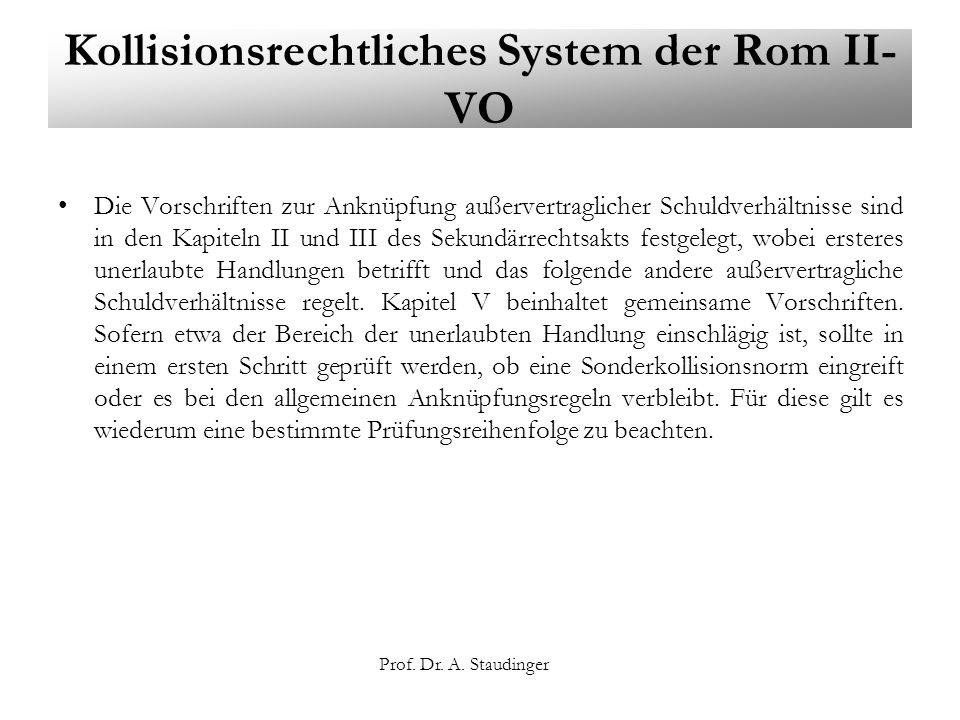 Prof. Dr. A. Staudinger Kollisionsrechtliches System der Rom II- VO Die Vorschriften zur Anknüpfung außervertraglicher Schuldverhältnisse sind in den