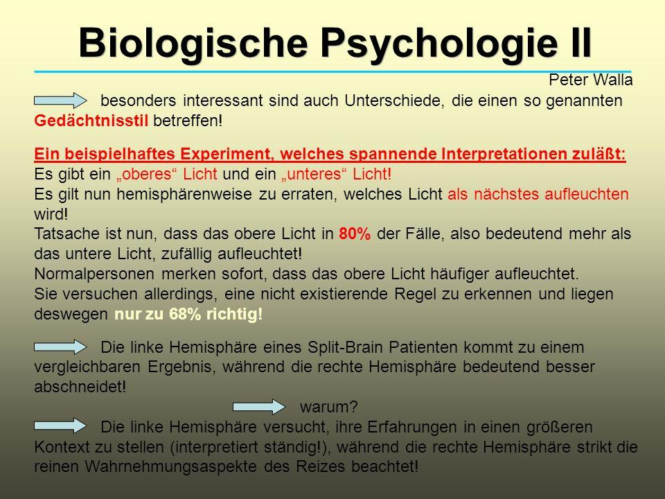 Biologische Psychologie II Peter Walla besonders interessant sind auch Unterschiede, die einen so genannten Gedächtnisstil betreffen! Ein beispielhaft