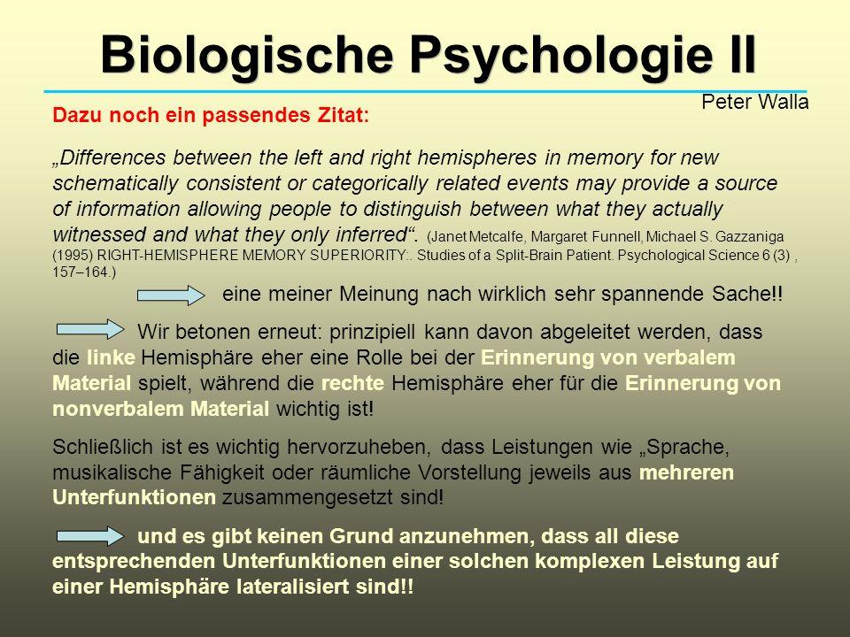 Biologische Psychologie II Peter Walla Dazu noch ein passendes Zitat: Differences between the left and right hemispheres in memory for new schematical