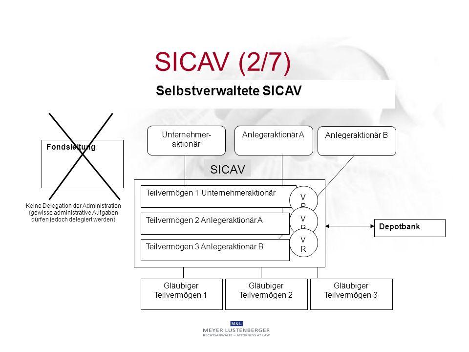SICAV Unternehmer- aktionär Anlegeraktionär A Fondsleitung Keine Delegation der Administration (gewisse administrative Aufgaben dürfen jedoch delegier