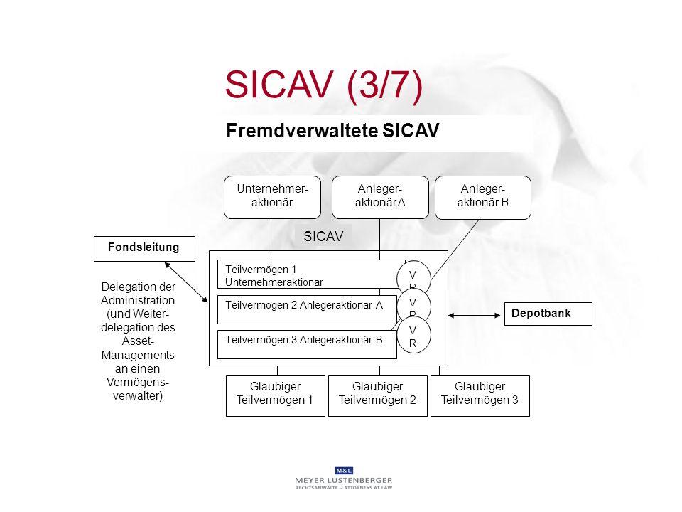 SICAV Unternehmer- aktionär Anleger- aktionär A Fondsleitung Delegation der Administration (und Weiter- delegation des Asset- Managements an einen Ver
