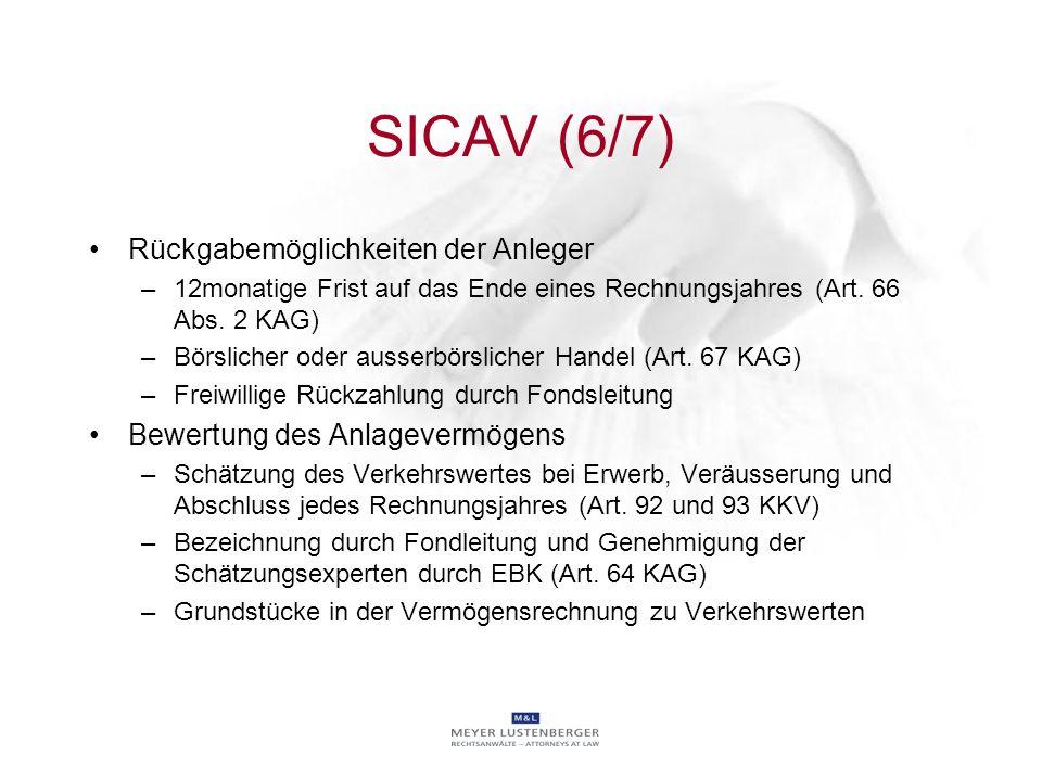 SICAV (6/7) Rückgabemöglichkeiten der Anleger –12monatige Frist auf das Ende eines Rechnungsjahres (Art. 66 Abs. 2 KAG) –Börslicher oder ausserbörslic