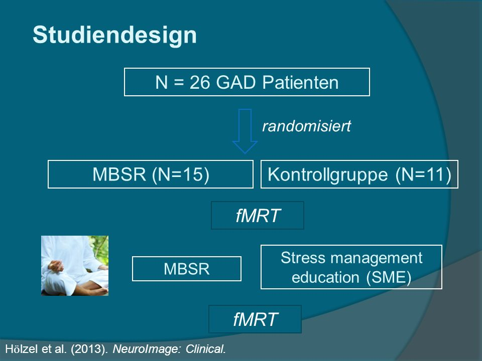 Studiendesign N = 26 GAD Patienten MBSR (N=15)Kontrollgruppe (N=11) randomisiert MBSR Stress management education (SME) fMRT H ӧ lzel et al.