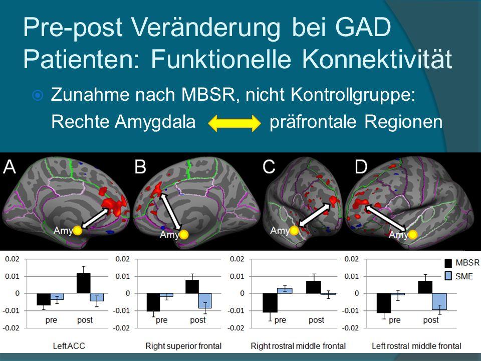 Zunahme nach MBSR, nicht Kontrollgruppe: Rechte Amygdala präfrontale Regionen Pre-post Veränderung bei GAD Patienten: Funktionelle Konnektivität