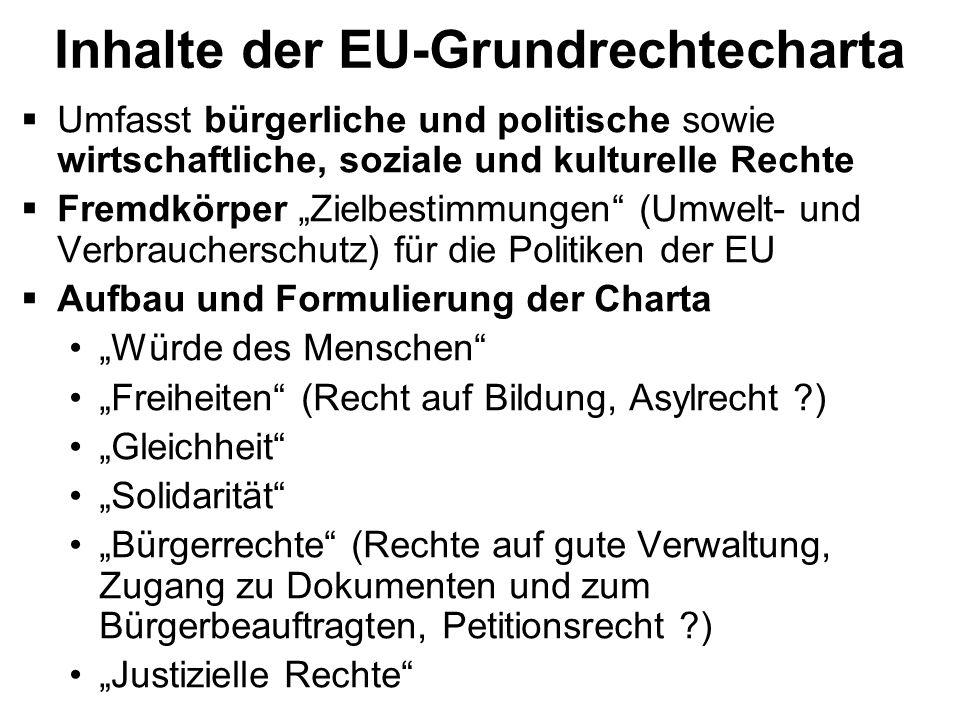 Inhalte der EU-Grundrechtecharta Umfasst bürgerliche und politische sowie wirtschaftliche, soziale und kulturelle Rechte Fremdkörper Zielbestimmungen