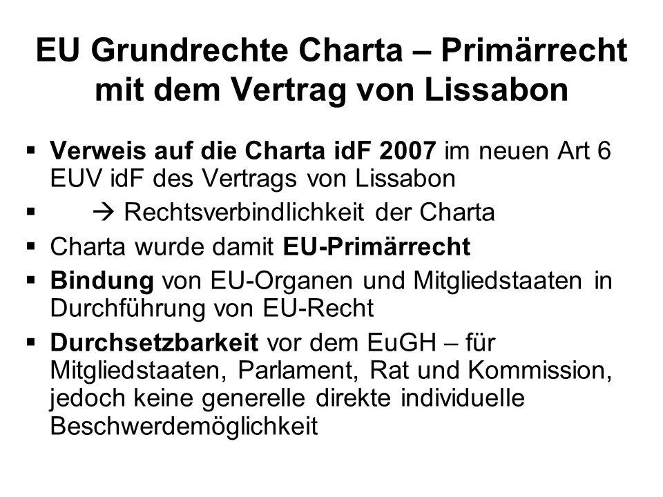 EU Grundrechte Charta – Primärrecht mit dem Vertrag von Lissabon Verweis auf die Charta idF 2007 im neuen Art 6 EUV idF des Vertrags von Lissabon Rech