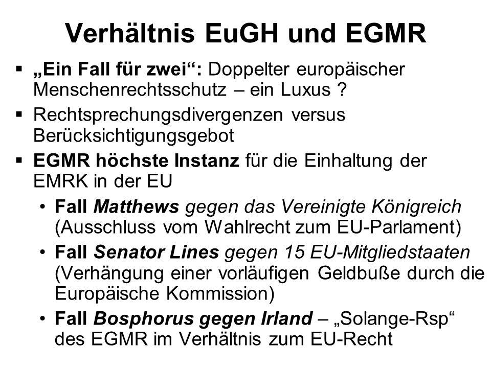 Verhältnis EuGH und EGMR Ein Fall für zwei: Doppelter europäischer Menschenrechtsschutz – ein Luxus ? Rechtsprechungsdivergenzen versus Berücksichtigu