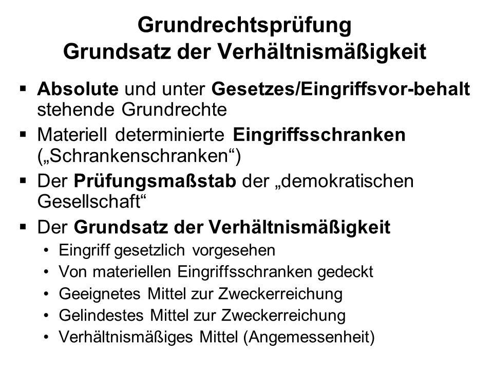 Grundrechtsprüfung Grundsatz der Verhältnismäßigkeit Absolute und unter Gesetzes/Eingriffsvor-behalt stehende Grundrechte Materiell determinierte Eing
