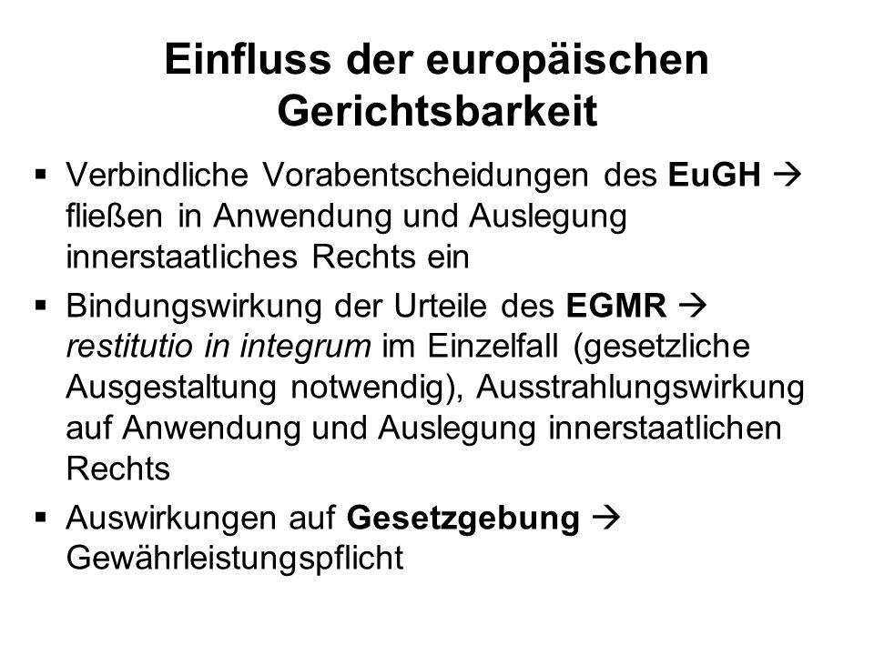 Einfluss der europäischen Gerichtsbarkeit Verbindliche Vorabentscheidungen des EuGH fließen in Anwendung und Auslegung innerstaatliches Rechts ein Bin