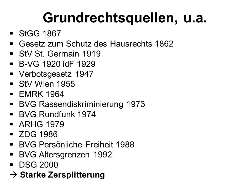 Grundrechtsquellen, u.a. StGG 1867 Gesetz zum Schutz des Hausrechts 1862 StV St. Germain 1919 B-VG 1920 idF 1929 Verbotsgesetz 1947 StV Wien 1955 EMRK