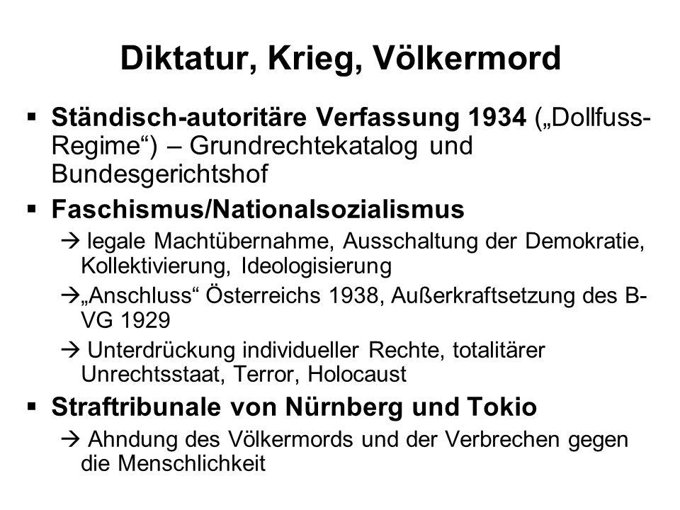 Diktatur, Krieg, Völkermord Ständisch-autoritäre Verfassung 1934 (Dollfuss- Regime) – Grundrechtekatalog und Bundesgerichtshof Faschismus/Nationalsozi