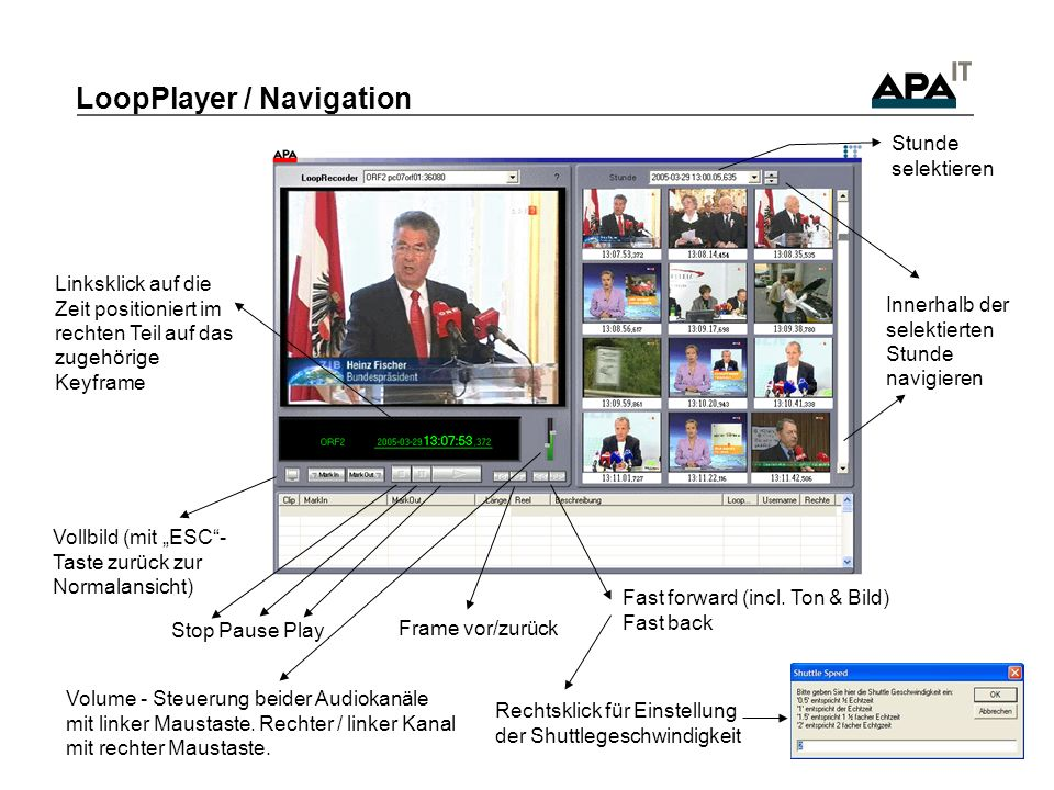 LoopPlayer / Navigation Stop Pause Play Vollbild (mit ESC- Taste zurück zur Normalansicht) Frame vor/zurück Fast forward (incl. Ton & Bild) Fast back