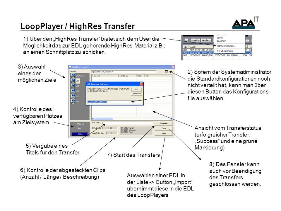 7) Start des Transfers 5) Vergabe eines Titels für den Transfer LoopPlayer / HighRes Transfer 1) Über den HighRes Transfer bietet sich dem User die Möglichkeit das zur EDL gehörende HighRes-Material z.B.: an einen Schnittplatz zu schicken.