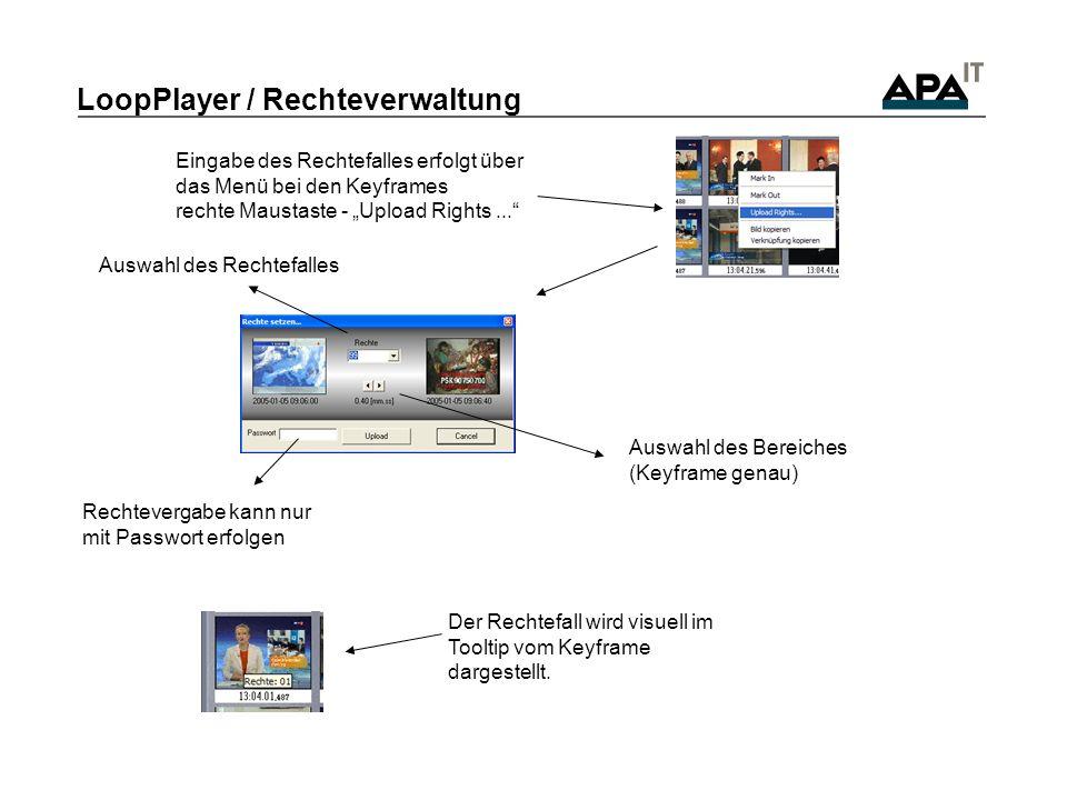 LoopPlayer / Rechteverwaltung Der Rechtefall wird visuell im Tooltip vom Keyframe dargestellt.