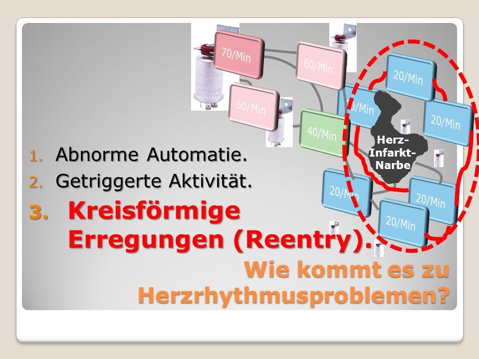 Wie kommt es zu Herzrhythmusproblemen? 1. Abnorme Automatie. 2. Getriggerte Aktivität. 3. Kreisförmige Erregungen (Reentry). Herz- Infarkt- Narbe