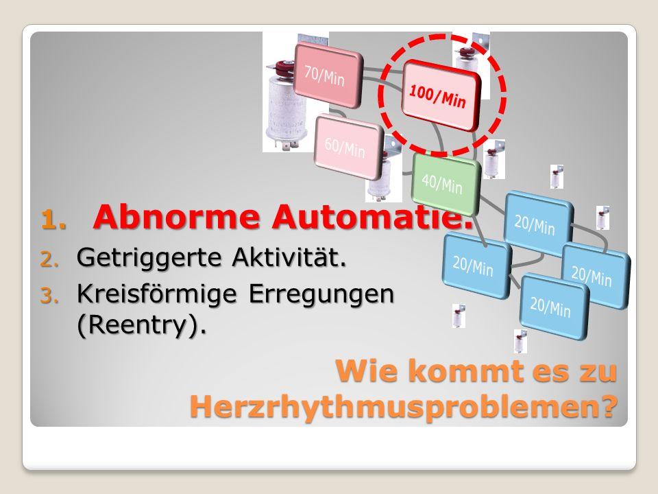 1. Abnorme Automatie. 2. Getriggerte Aktivität. 3. Kreisförmige Erregungen (Reentry). Wie kommt es zu Herzrhythmusproblemen?