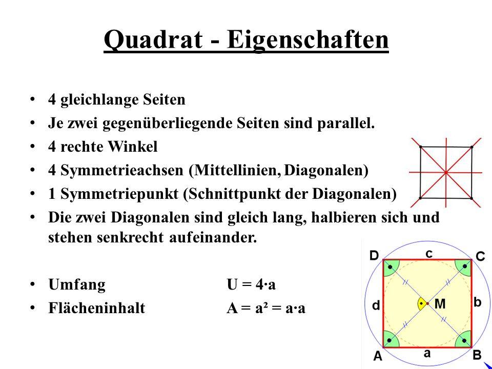 4 gleichlange Seiten Je zwei gegenüberliegende Seiten sind parallel. 4 rechte Winkel 4 Symmetrieachsen (Mittellinien, Diagonalen) 1 Symmetriepunkt (Sc