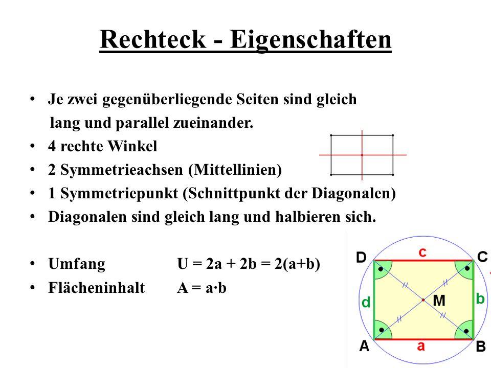 Rechteck - Eigenschaften Je zwei gegenüberliegende Seiten sind gleich lang und parallel zueinander. 4 rechte Winkel 2 Symmetrieachsen (Mittellinien) 1