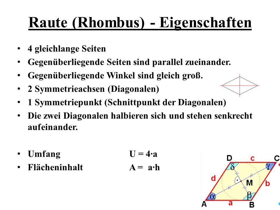Raute (Rhombus) - Eigenschaften 4 gleichlange Seiten Gegenüberliegende Seiten sind parallel zueinander. Gegenüberliegende Winkel sind gleich groß. 2 S