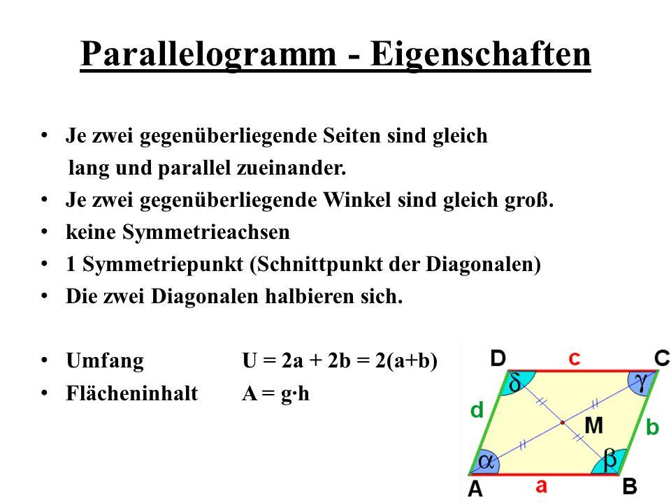 Parallelogramm - Eigenschaften Je zwei gegenüberliegende Seiten sind gleich lang und parallel zueinander. Je zwei gegenüberliegende Winkel sind gleich