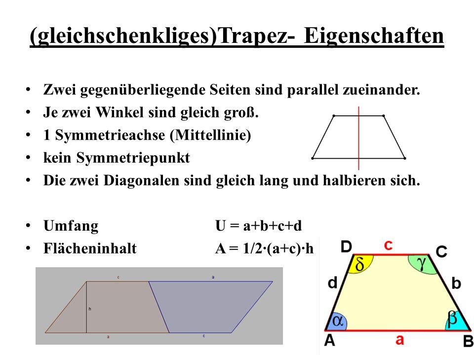 (gleichschenkliges)Trapez- Eigenschaften Zwei gegenüberliegende Seiten sind parallel zueinander. Je zwei Winkel sind gleich groß. 1 Symmetrieachse (Mi