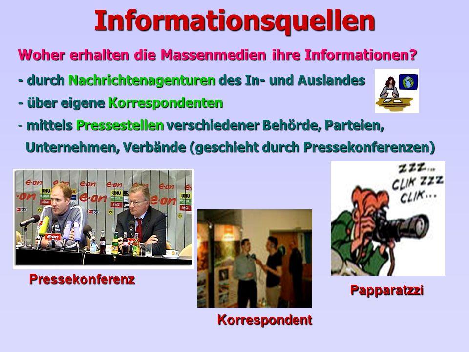 Informationsquellen Woher erhalten die Massenmedien ihre Informationen? - durch Nachrichtenagenturen des In- und Auslandes - über eigene Korrespondent