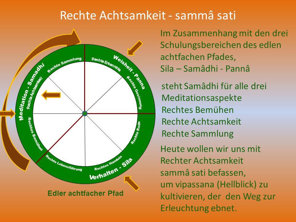 Rechte Achtsamkeit - sammâ sati Im Zusammenhang mit den drei Schulungsbereichen des edlen achtfachen Pfades, Sila – Samâdhi - Pannâ Edler achtfacher P