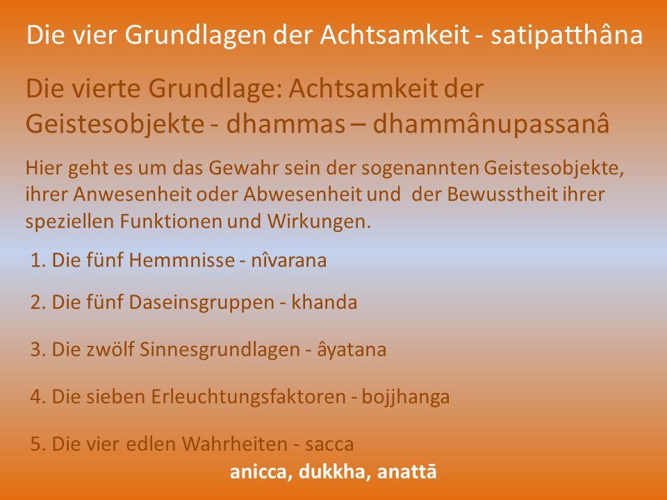 Die vier Grundlagen der Achtsamkeit - satipatthâna Die vierte Grundlage: Achtsamkeit der Geistesobjekte - dhammas – dhammânupassanâ Hier geht es um da