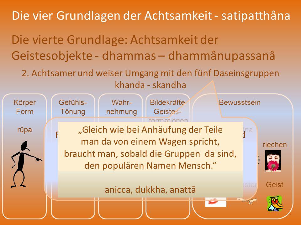 Die vier Grundlagen der Achtsamkeit - satipatthâna Die vierte Grundlage: Achtsamkeit der Geistesobjekte - dhammas – dhammânupassanâ 2. Achtsamer und w