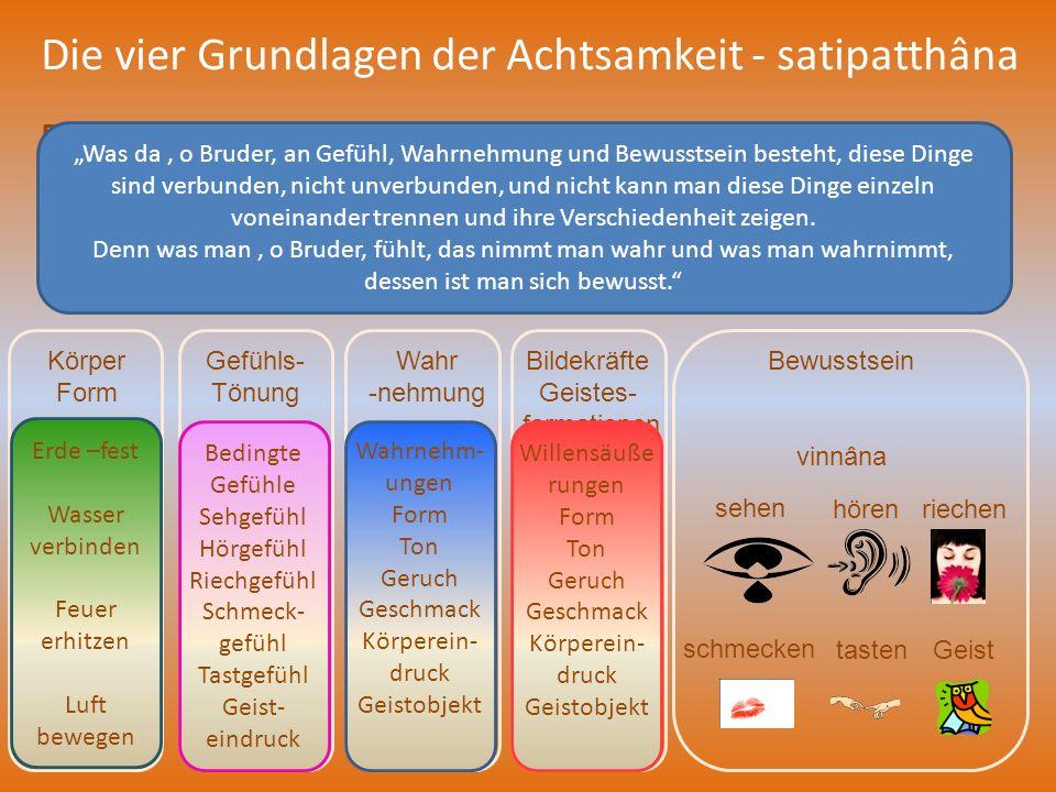 Die vier Grundlagen der Achtsamkeit - satipatthâna Die vierte Grundlage: Achtsamkeit der Geistesobjekte - dhammas – dhammânupassanâ Körper Form rûpa G