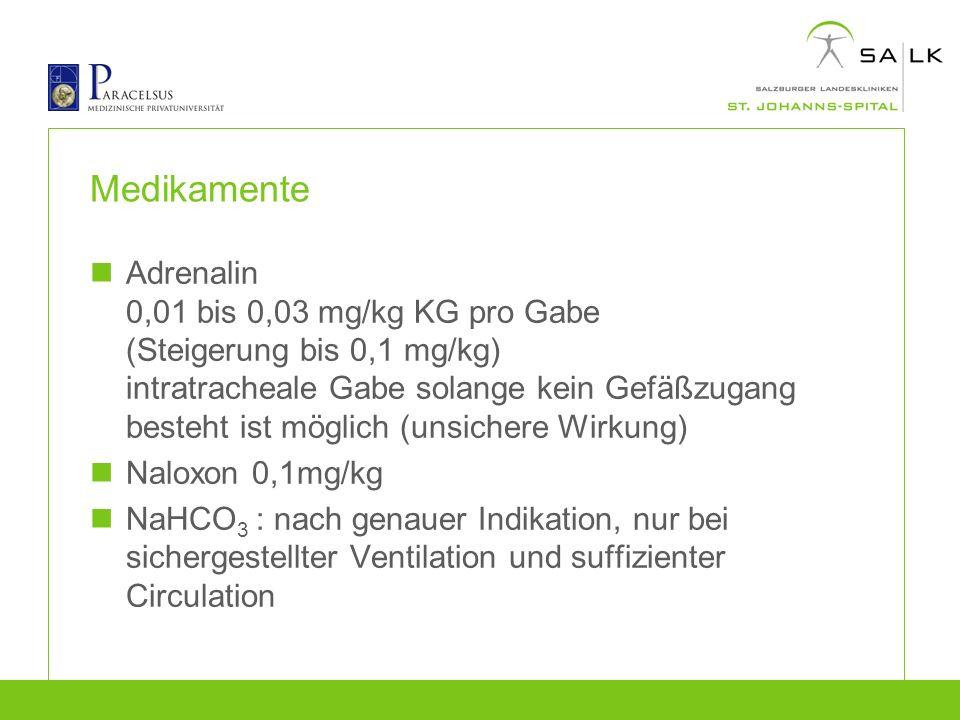 Medikamente Adrenalin 0,01 bis 0,03 mg/kg KG pro Gabe (Steigerung bis 0,1 mg/kg) intratracheale Gabe solange kein Gefäßzugang besteht ist möglich (uns