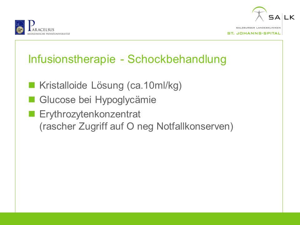 Infusionstherapie - Schockbehandlung Kristalloide Lösung (ca.10ml/kg) Glucose bei Hypoglycämie Erythrozytenkonzentrat (rascher Zugriff auf O neg Notfa