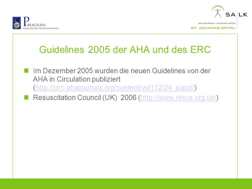 Guidelines 2005 der AHA und des ERC Im Dezember 2005 wurden die neuen Guidelines von der AHA in Circulation publiziert (http://circ.ahajournals.org/co
