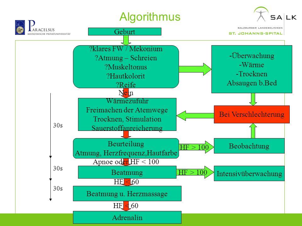Algorithmus Geburt ?klares FW / Mekonium ?Atmung – Schreien ?Muskeltonus ?Hautkolorit ?Reife -Überwachung -Wärme -Trocknen Absaugen b.Bed Wärmezufuhr