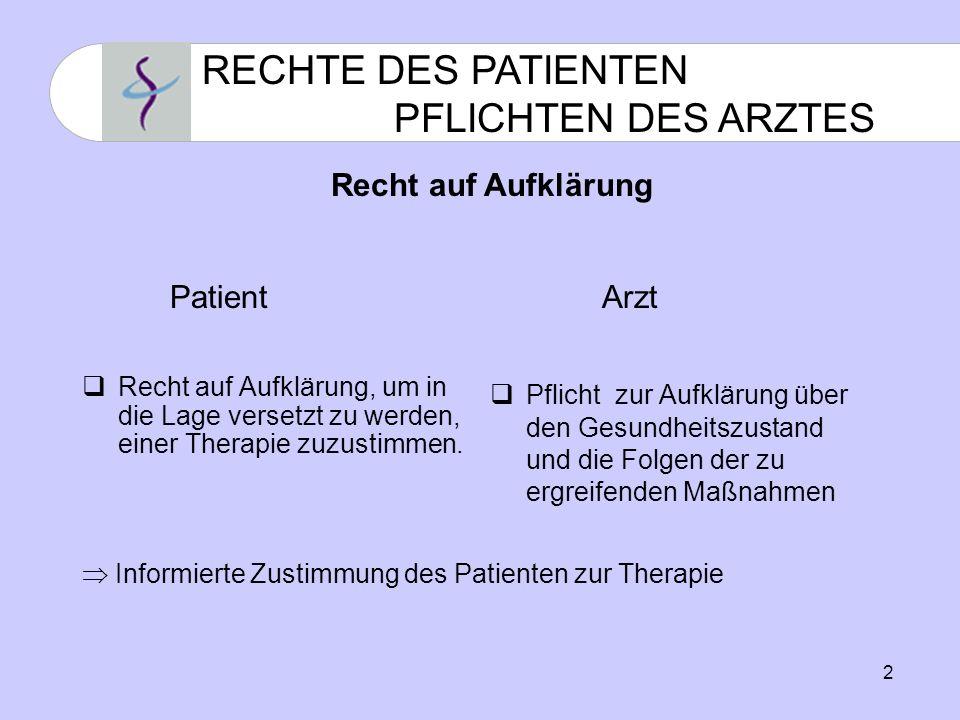 2 RECHTE DES PATIENTEN PFLICHTEN DES ARZTES Recht auf Aufklärung, um in die Lage versetzt zu werden, einer Therapie zuzustimmen.