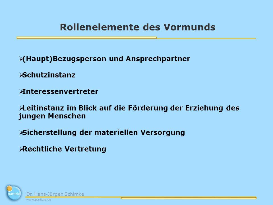 Rollenelemente des Vormunds (Haupt)Bezugsperson und Ansprechpartner Schutzinstanz Interessenvertreter Leitinstanz im Blick auf die Förderung der Erzie