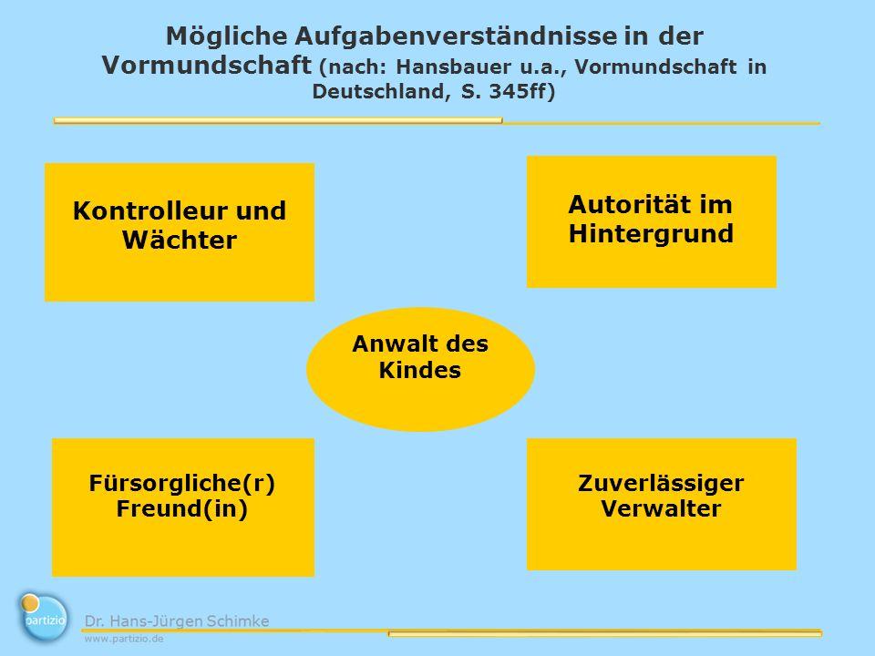 Mögliche Aufgabenverständnisse in der Vormundschaft (nach: Hansbauer u.a., Vormundschaft in Deutschland, S. 345ff) Kontrolleur und Wächter Autorität i