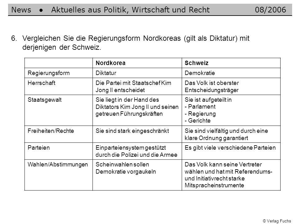 News Aktuelles aus Politik, Wirtschaft und Recht08/2006 6.Vergleichen Sie die Regierungsform Nordkoreas (gilt als Diktatur) mit derjenigen der Schweiz