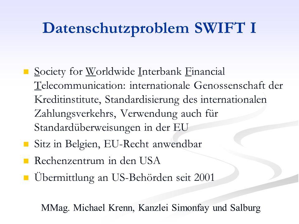 MMag. Michael Krenn, Kanzlei Simonfay und Salburg Datenschutzproblem SWIFT I Society for Worldwide Interbank Financial Telecommunication: internationa