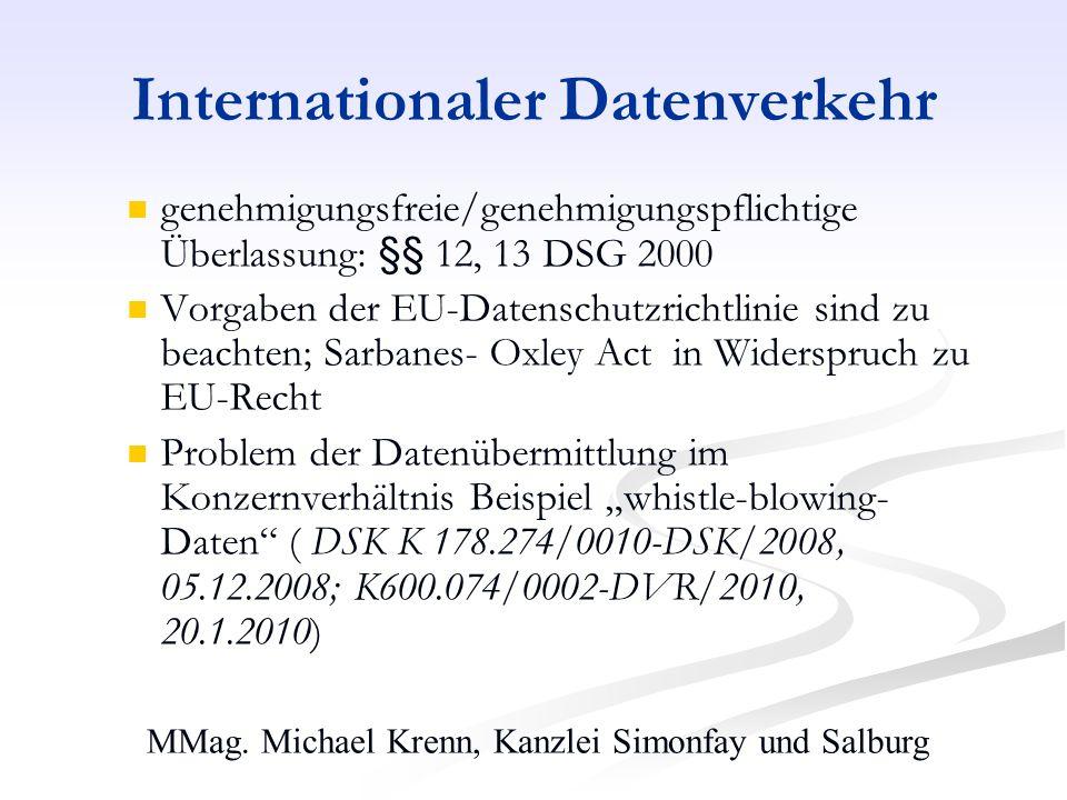 MMag. Michael Krenn, Kanzlei Simonfay und Salburg Internationaler Datenverkehr genehmigungsfreie/genehmigungspflichtige Überlassung: §§ 12, 13 DSG 200