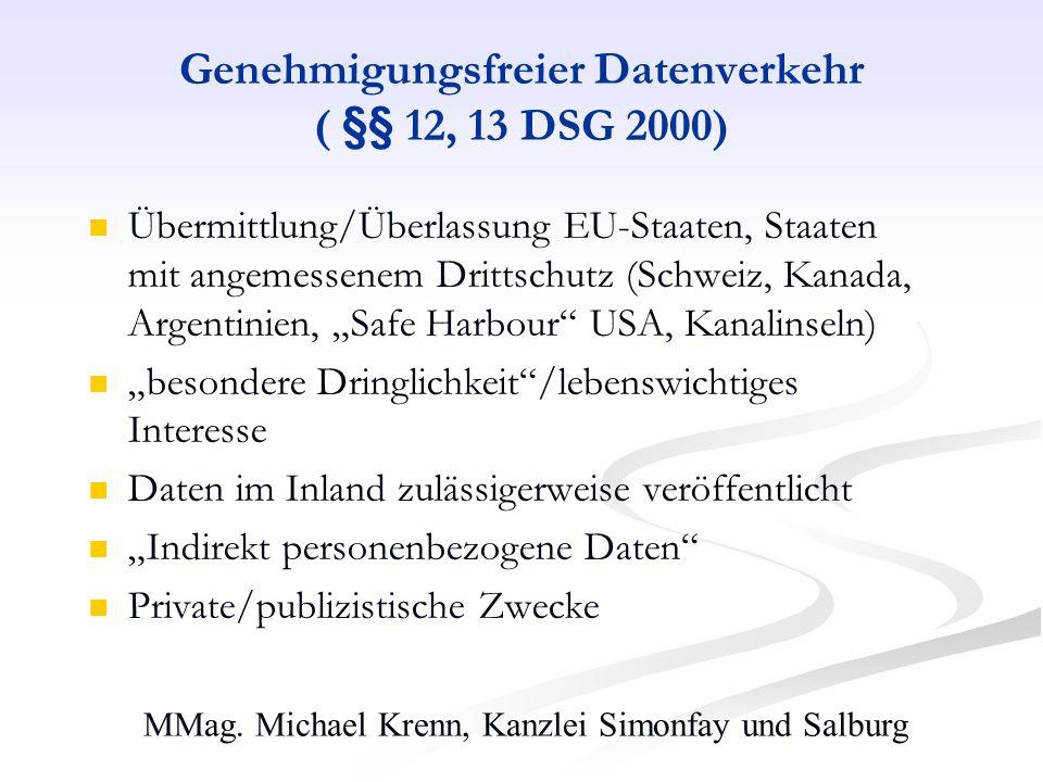 MMag. Michael Krenn, Kanzlei Simonfay und Salburg Genehmigungsfreier Datenverkehr ( §§ 12, 13 DSG 2000) Übermittlung/Überlassung EU-Staaten, Staaten m
