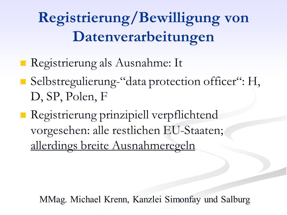 MMag. Michael Krenn, Kanzlei Simonfay und Salburg Registrierung/Bewilligung von Datenverarbeitungen Registrierung als Ausnahme: It Selbstregulierung-d