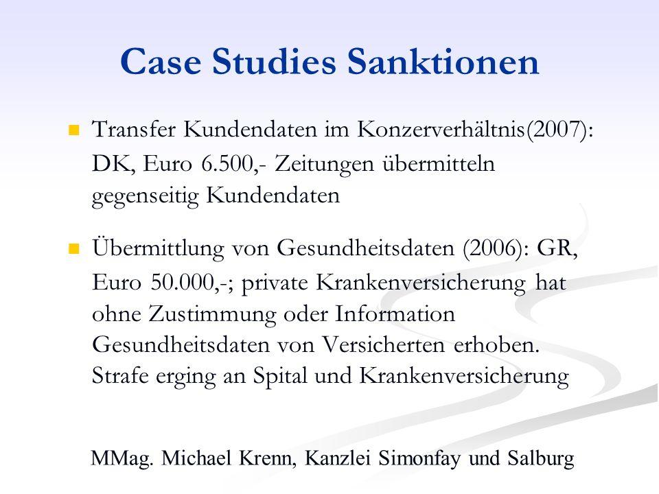 MMag. Michael Krenn, Kanzlei Simonfay und Salburg Case Studies Sanktionen Transfer Kundendaten im Konzerverhältnis(2007): DK, Euro 6.500,- Zeitungen ü