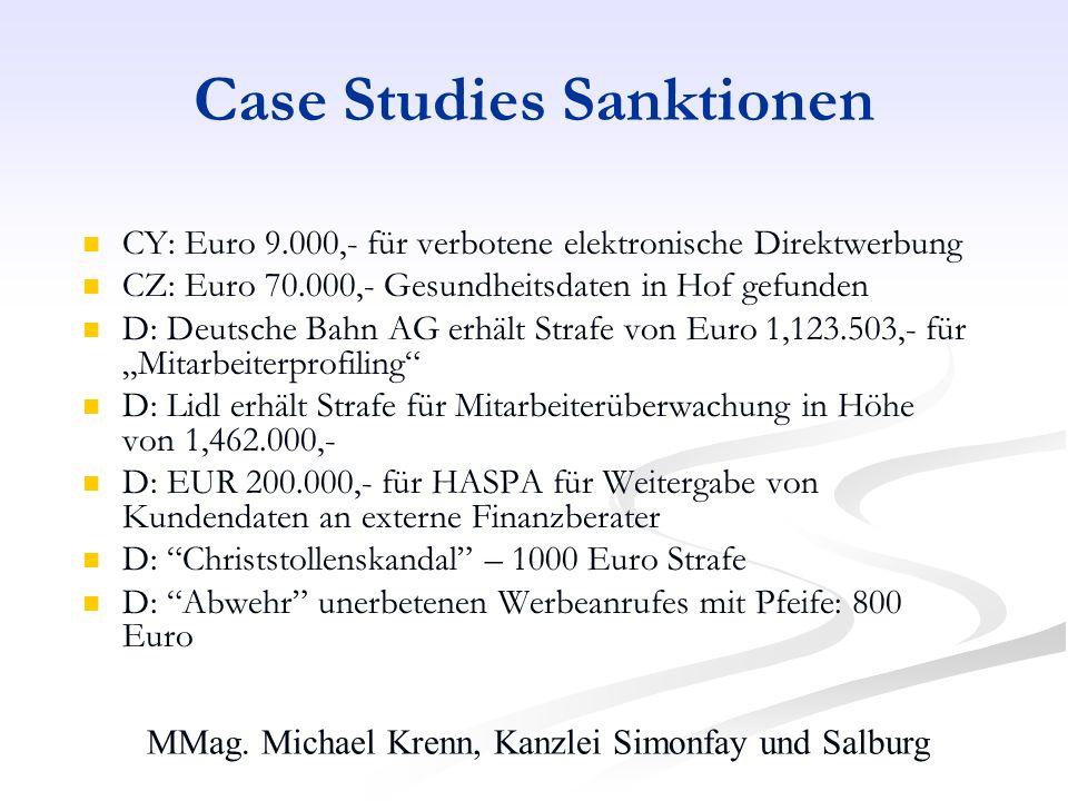MMag. Michael Krenn, Kanzlei Simonfay und Salburg Case Studies Sanktionen CY: Euro 9.000,- für verbotene elektronische Direktwerbung CZ: Euro 70.000,-